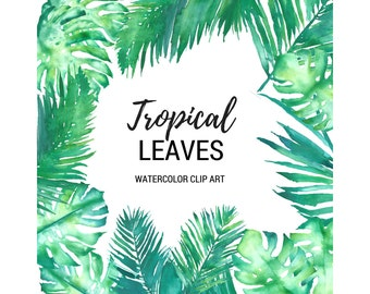 Tropical Leaves Watercolor Clip Art Digital Graphics 300dpi png Monstera Deliciosa Palm Palms Fronds Green Leaves Wedding Scrapbooking