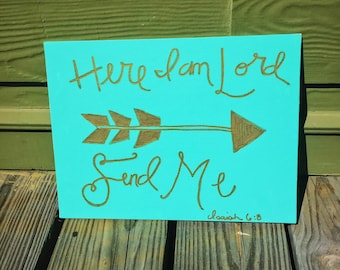 Here I Am Lord, Send Me Canvas Panel {Custom colors}
