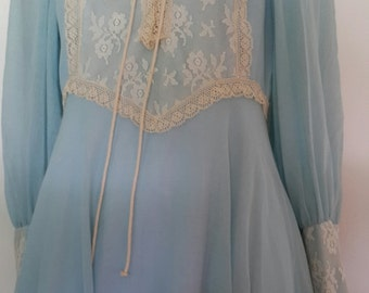 Vintage 1970s Boho Maxi Dress Light Blue Poet Sleeves Lace-up Front Lace Trim and Detail