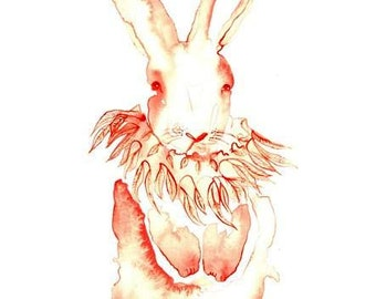 Pink Rabbit Original Painting Original Watercolor Painting ,Beautiful bunny art.