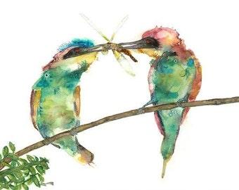 "Bee eater watercolor painting print Animal  print animal watercolor animal portrait,colourful birds, bird paintings, Art Print 9 x13"""