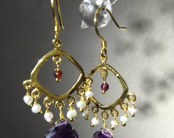Natural Amethyst Fresh water Pearl dangle Earring