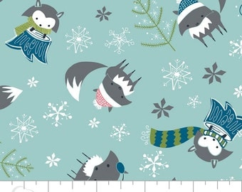 Winter Wonderland- Foxes In Rainwater By Heather Rosas For Camelot Fabrics Cotton Fabric