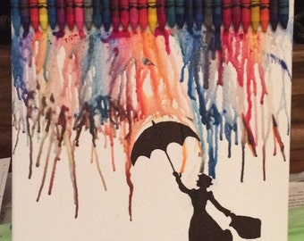 Handmade Crayon Art with Mary Poppins, on Canvas