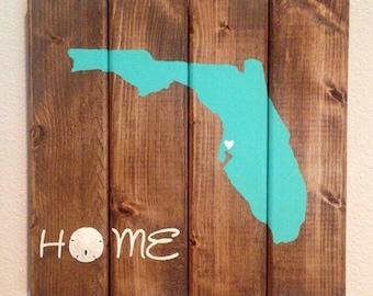 Custom Made Wood Florida Home Sign, Sand Dollar, Coastal Florida State Sign, Rustic Home Sign, Florida decor, Florida Home, Holiday Gift