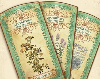 Herbal Apothecary Labels,Apothecary Medicine Herbs,#Vintage Hobby crafting,Printable Digital Graphics,Digital collage sheet,Instant Download
