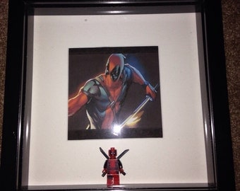 Marvel Deadpool lego charavyer with print Picture Frame perfect gift for deadpool fan Fathers Day Birthday Gift