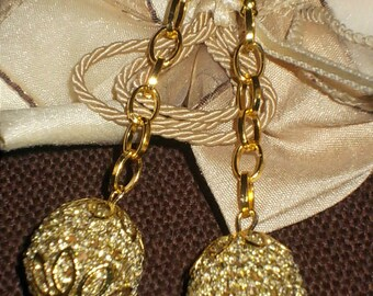 wooden laminated cotton coated Pearl crochet earrings gold color