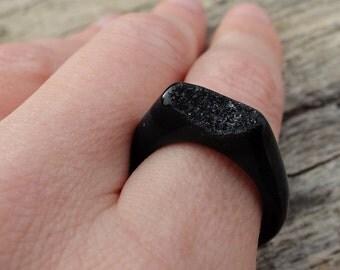 Natural Black & Grey Druzy Agate Ring