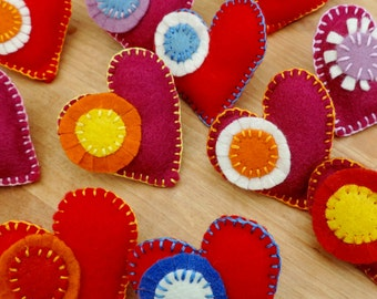 Hand stitched, Felt Heart Brooches