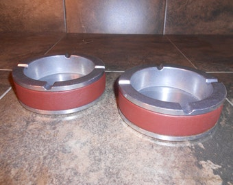 Pewter and Leather Ashtrays Set of 2