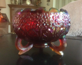 "Rare ""Fenton's Flowers"" Carnival glass Rose Bowl"