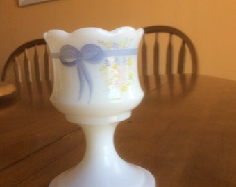 Fenton hand painted milk glass votive/toothpick holder