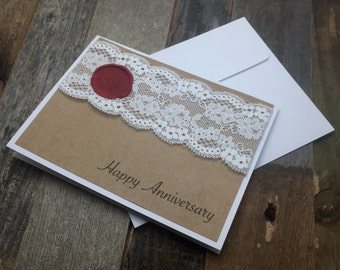 Happy Anniversary Card, Anniversary Card, Lace Card, Rustic Card, Anniversary
