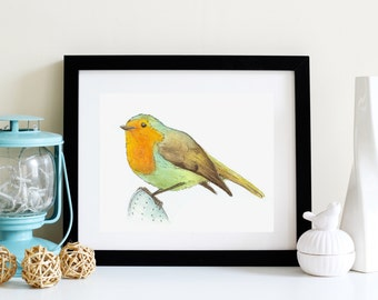 Watercolor Bird, Art Print, watercolor print, watercolor bird art, cool wall art, robin art, cute bird art, gallery wall art, nature print