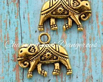 10 Gold Elephant charms (CM260)