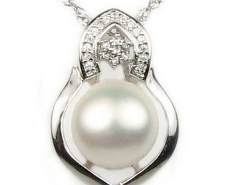 White pearl pendant, freshwater pearl pendant, 925 sterling silver pendant, real pearl necklace, wedding necklace, 11-12mm, F2665-WP