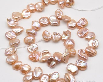 9-10mm pink cornflake pearls, side drilled Keshi pearl strand, natural freshwater lustrous pearl, high quality Keishi petal pearls, FK380-PS