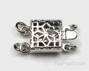 Two line filigree box clasps, double strand clasp, bracelet or necklace clasp, silver findings,platinum plated finish, 8mm, CS1031