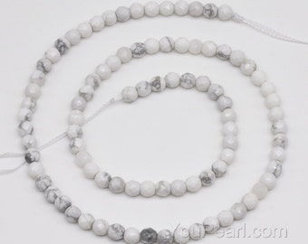 Howlite beads, 4mm round faceted, gemstone beads, natural stone beads, small white gem stone beads, faceted beads strand, HWL1010