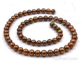 Brown pearls, AA+ 6-7mm round coffee fresh water pearls, thick nacre pearl beads, full strand, genuine freshwater pearl, FR270-FS