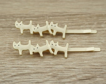 Cat Bobby Pins, Gold Bobby Pins, Cute Bobby Pins, Cat Hair Clip, Cat hair Pins, Gold Hair Clip, Children Bobby Pins, Children Hair Clips