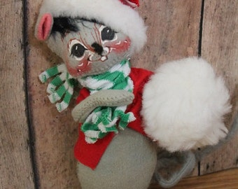 Annalee Mouse doll-Christmas Annalee-Christmas Mouse-1990 Annalee mouse doll-holiday decor-Mouse with Snowball
