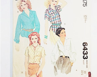 70s Blouse Pattern | McCalls 6433 Misses Shirts Pattern | 1979 Sewing Pattern