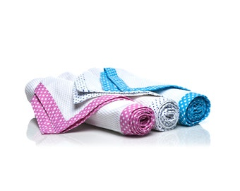 Set of two towels-Pink and white polka dots- Item#: SW-O-AO-PinkWhitePolka-100% cotton super absorbent mid-weight towels