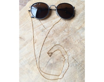 Stainless Steel Triangle Sunglass Strap | Eyeglass Cord | Rose Gold Silver Eyeglass chain | Sunglass Lanyard | Triangle Pendant Sun Straps