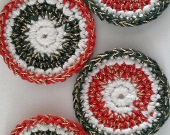 String Coasters, Green and Red Edged