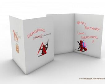 Lego Deadpool inspired Birthday Card
