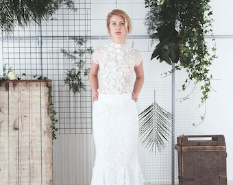 Lace mermaid wedding skirt with godets & train / Wedding Separates / Lace Wedding Skirt /Rasbery Pavlova / modern bridal style