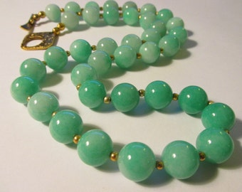 """Chinese Green Jade Bead Necklace with 14K Gold-Filled Spacers, 22"""""""