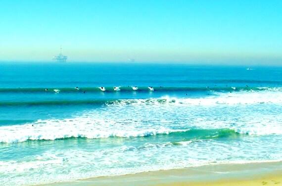 Surfers At Malibu California Beach Landscape By Vibranceart