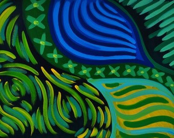 "Inch by Inch - 18""x24"", Abstract Acrylic Painting on Stretched Canvas, Blue, Green, Yellow, Garden"