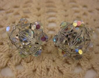 Vintage earrings, Vintage Clip On, Vintage Jewelry, Iridescent Glass, Beaded Earrings, Aurora Borealis Beads, Wedding, Bridal, Bride, Gift