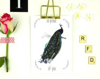 Proud of You Card, Cute Peacock Print Greeting Card, Encouragement Card