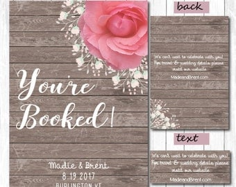 Peony Save our Date/ Wedding Invitation Suite-PRINTABLE- Wood Background-Floral Rustic Wedding Invitation- Postcard RSVP You're Booked