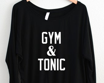 Gym & Tonic, Women's Flowy Long Sleeve Off Shoulder Tee, Funny,