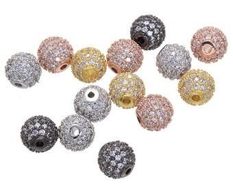 High Quality Bulk 5 Micro Pave CZ Cubic Zirconia Beads 6mm