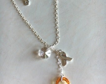MS awareness swarovski crystal necklace on silver chain