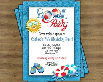 Pool Party Birthday Invitation;  Pool Party Invitation; Beach Ball Invitation; Beach Ball Birthday Invitation; Summer Birthday Invitation