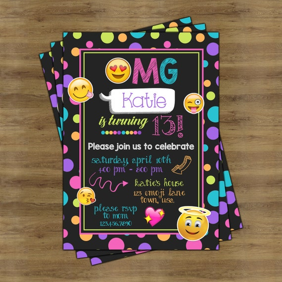 Emoji Party Invitations Emoji Invitations Emoji Birthday
