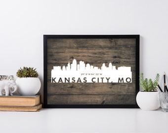 Kansas City, coordinate art, city art, house warming, newly weds, tourist, travel, traveler, gift, home decor, print, poster