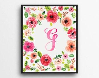 Monogram Letter G Print | Floral Wreath Monogram | Initial Print | Watercolor Floral Print | Digital Download