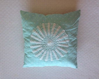 Pillow with crochet