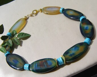 Agate turquoise necklace with Silver 925