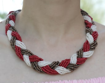 Red white Bead Necklace, statement necklace, summer jewelry, handmade, gift for her