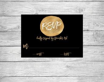 Foil Gold Black Invitation RSVP Printable Digital Invite